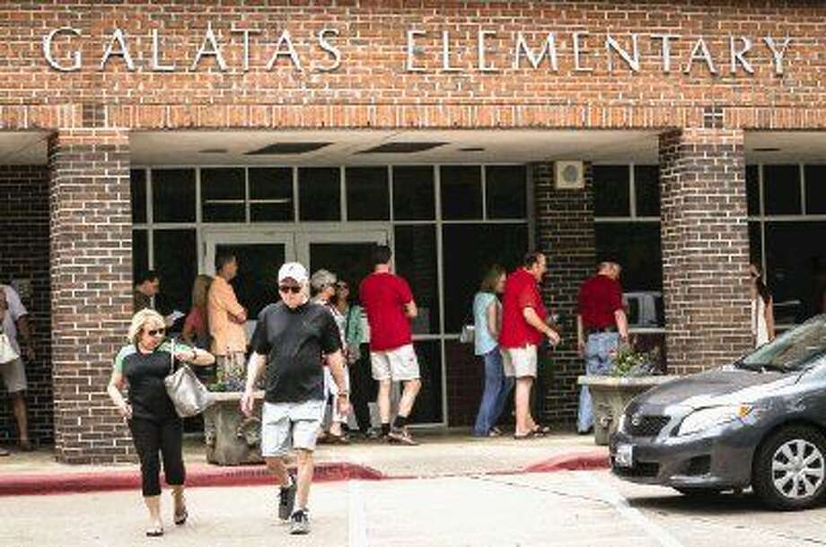 Voters line up on Montgomery County Election Day at Galatas Elementary School. Photo: Michael Minasi