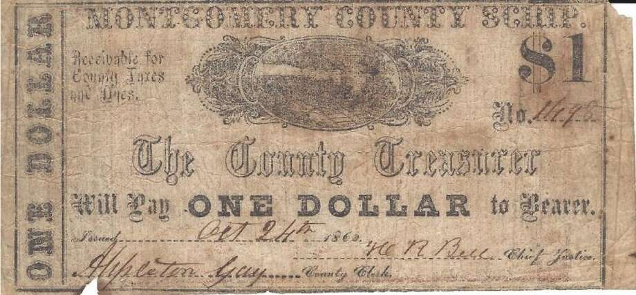 A Montgomery County scrip issued in 1862 signed by then County Clerk Appleton Gay.