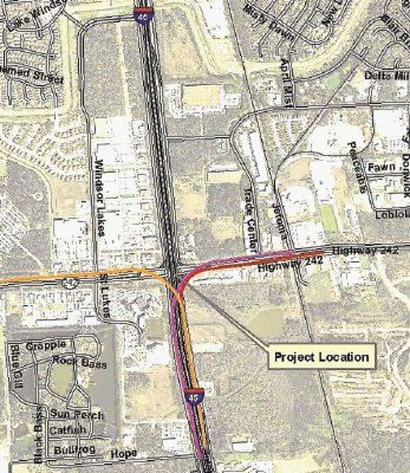 A map showing the Texas 242 flyovers as shown by purple, orange and red lines. The ramps are open, but tolling won't start until July.
