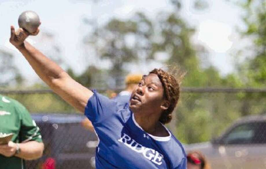 Oak Ridge's N'Dia Warren-Jacques, here competing in the District 14-5A meet, is returning to the state track and field championships in the shot put. Photo: Staff Photo By Ana Ramirez / The Conroe Courier/ The Woodland