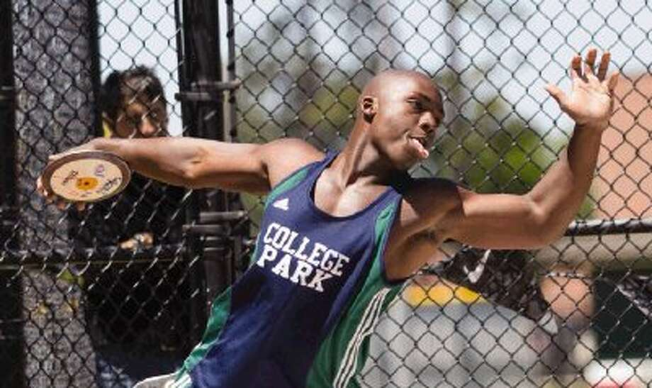 The Woodlands College Park's Jayvon Jackson finished second in the discus in the discus in the District 14-5A track and field championships at The Woodlands on Tuesday. To view or purchase this photo and others like it, visit HCNpics.com. Photo: Staff Photo By Ana Ramirez / The Conroe Courier/ The Woodland