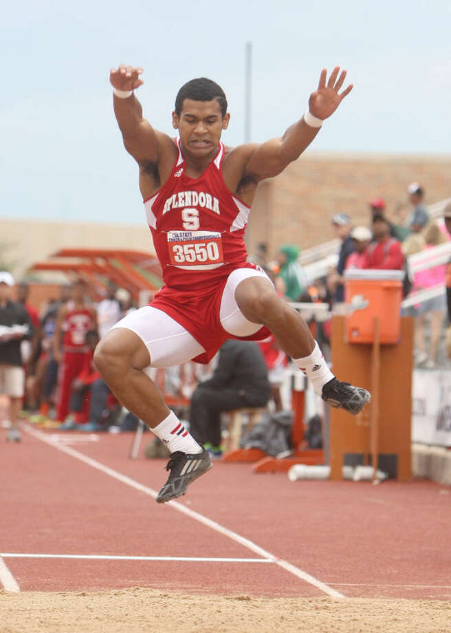 Splendora's Jay Bradford competes in the Class 3A boys long jump during the UIL State Track and Field Championships at Mike A. Myers Stadium in Austin Friday. Bradford took first in the event. To view or purchase this photo and others like it, visit HCNpics.com. Photo: Jason Fochtman