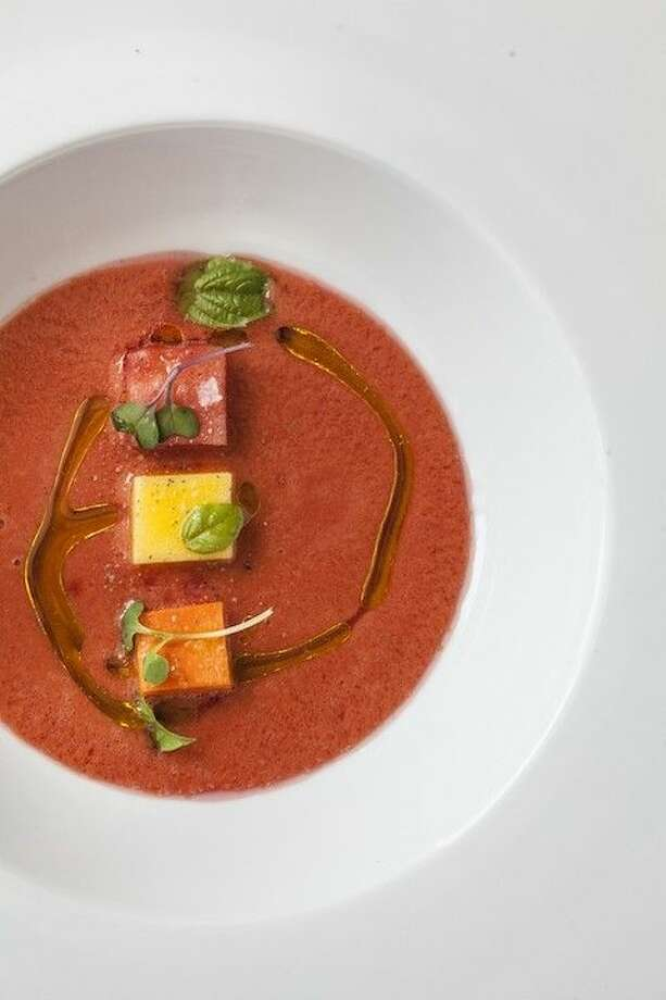 Fresh Gazpacho hits the spot. Chef Roger's recipe features ripe roma tomatoes and juicy watermelon cubes. Photo: Courtesy Photo