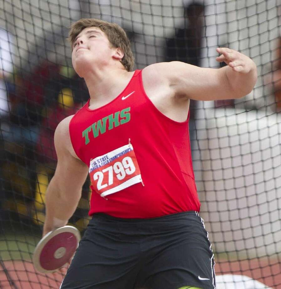 The Woodlands' Adrian Piperi threw 192 feet, one inch in the discus on Wednesday. Photo: Jason Fochtman