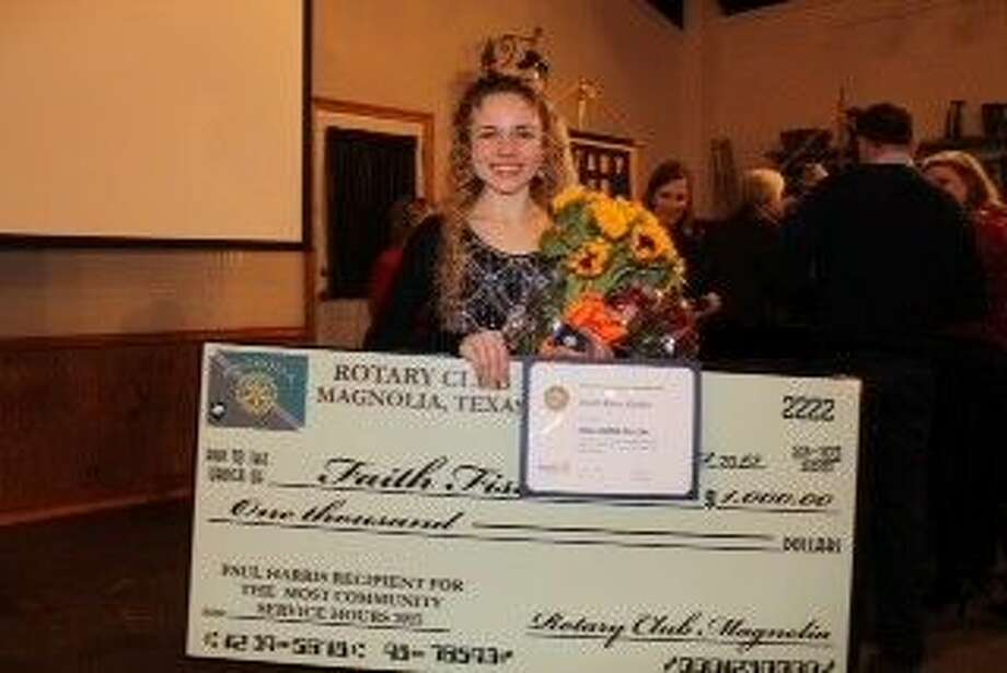 Faith Fisher, a senior at Magnolia West High School, was awarded a Paul Harris Fellow and a $1,000 college scholarship from The RC of Magnolia. Fisher was honored for her contributions to the community, having done more than 1,000 hours of community service.