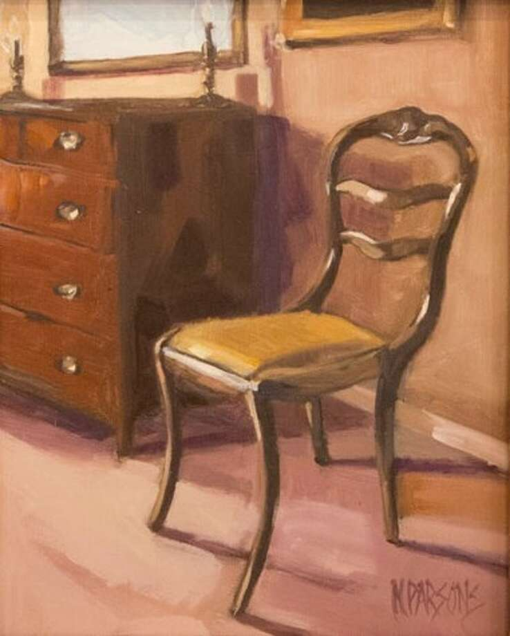 "An oil painting by Nancy Parsons titled ""Seat of Knowledge,"" which is currently on display at the Gallery at the Madeley Building in downtown Conroe"