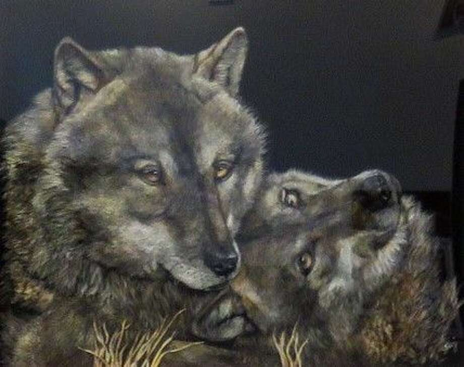 """A colored pencil painting titled """"My Love"""" by George Ann Johnson, which won the Best of Show award at the March 5 Conroe Art League competition and which is currently on display at the Gallery at the Madeley Building."""