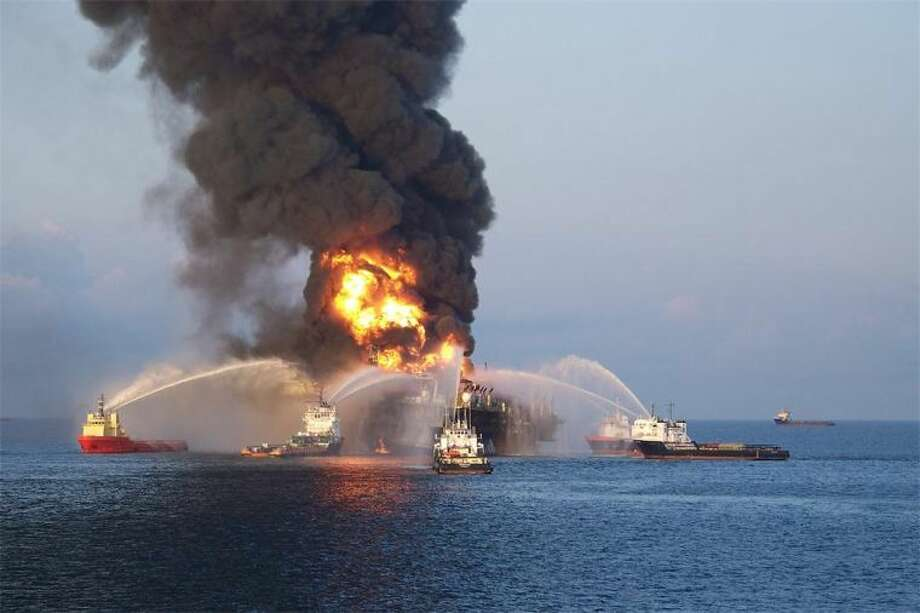 Emergency crews battle the BP oil rig explosion in the Gulf of Mexico in 2010. Photo: File Photo
