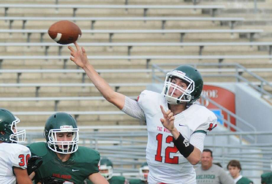 Craig Heiser throws a pass at the 39th annual Highlander Football Spring Game on Thursday at Woodforest Bank Stadium. Photo: Keith MacPherson