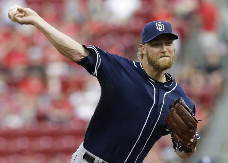 San Diego Padres starting pitcher Andrew Cashner, a graduate of Conroe High School, throws against the Cincinnati Reds in the first inning on May 13 in Cincinnati. Photo: Uncredited