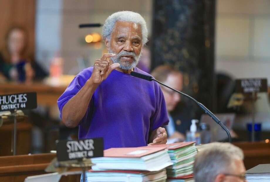 Nebraska state Sen. Ernie Chambers of Omaha speaks in Lincoln, Neb., Wednesday during debate on overriding Gov. Pete Ricketts' veto of a death penalty repeal bill. Photo: Nati Harnik