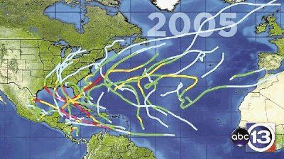 The 2005 hurricane season, which produced monster Hurricanes Katrina and Rita, was the busiest and costliest hurricane season on record. This map, provided by KTRK-13, shows the tracking of the 28 tropical and subtropical storms that formed. Only seven developed into major hurricanes.