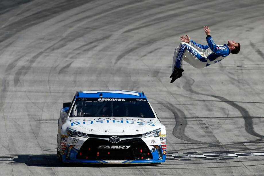 Carl Edwards celebrates winning the NASCAR Sprint Cup Series Food City 500 at Bristol Motor Speedway on April 17, 2016 in Bristol, Tennessee. Photo: Matt Sullivan