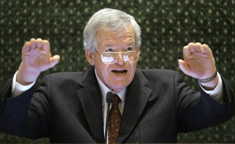 FILE — In this March 5, 2008, file photo, former U.S. House Speaker Dennis Hastert speaks to lawmakers on the Illinois House of Representatives floor at the state Capitol in Springfield, Ill. Photo: Seth Perlman