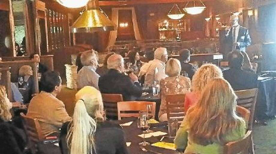 "John Christiansen speaks at the Four O'Clock Speaker Series hosted by The Woodlands Area Chamber of Commerce Thursday at Kirby's Prime Steakhouse in The Woodlands. His presentation was entitled ""Injecting Truth into a False Choice."" / @WireImgId=2675188"