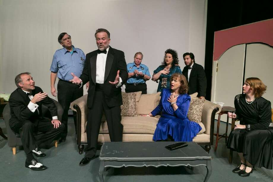 """Pictured is the scene """"The Story"""" from Stage Right's """"Rumors"""" as told by Lenny Ganz (Allen Doris), to the police, David Herman as Police Officer Welch, and Stella Leland as Officer Pudney. Photo: Michael Pittman"""