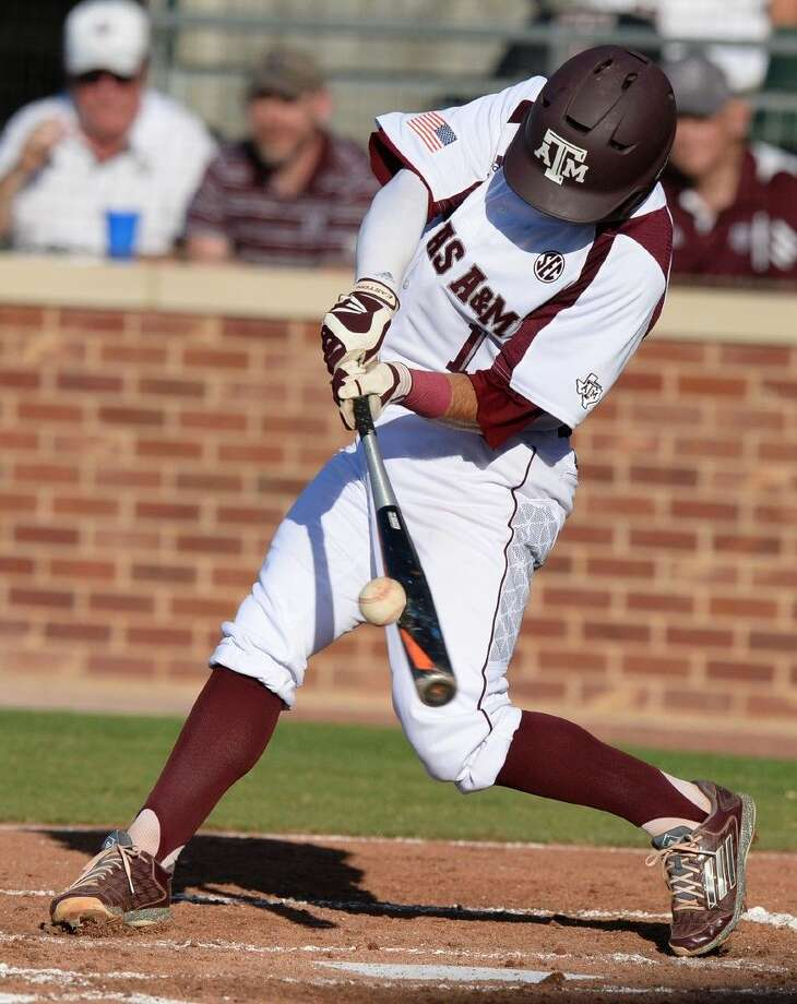 Texas A&M's Blake Allemand doubles against Texas Southern. Photo: Sam Craft