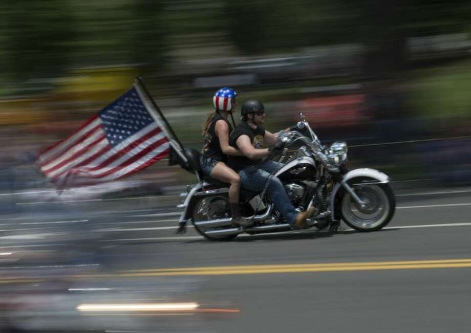 Riders participate in the the annual Rolling Thunder 'Ride for Freedom' motorcycle rally in Washington, Sunday, May 25, 2014. Photo: Molly Riley