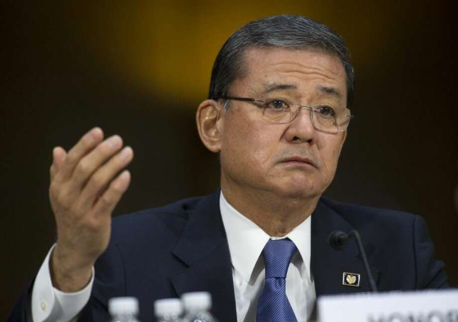 This May 15, 2014 file photo shows Veterans Affairs Secretary Eric Shinseki testifying on Capitol Hill in Washington. The Department of Veterans Affairs says it will allow more veterans to obtain health care at private hospitals and clinics. Shinseki announced the change Saturday. Photo: Cliff Owen