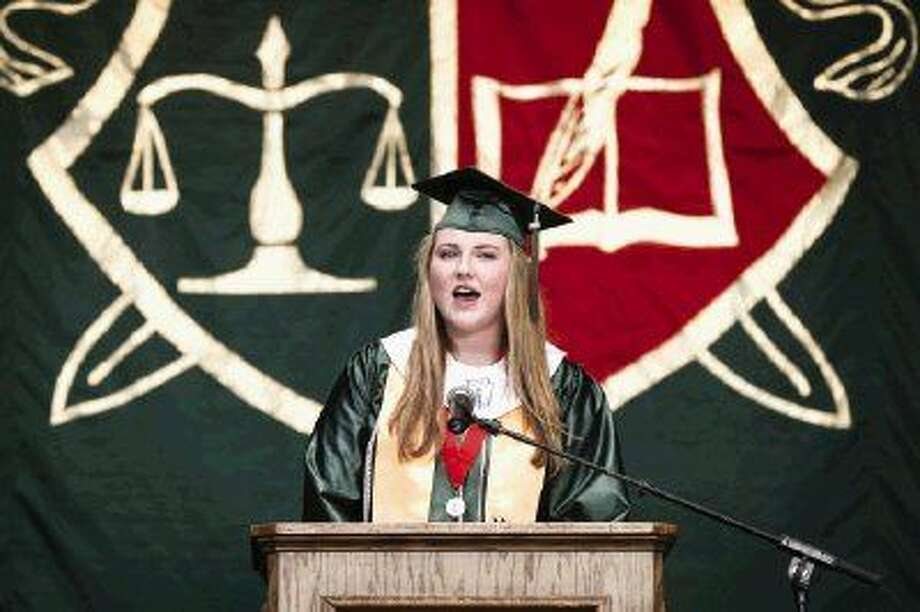 Graduate Emma Cooke speaks during The Woodlands High School graduation June 2 at The Cynthia Woods Mitchell Pavilion. To view more photos from the ceremony, go to HCNPics.com.
