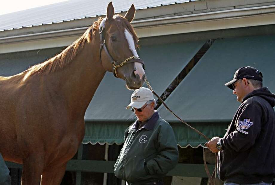 Trainer Art Sherman, center, and his son and assistant Alan check out Kentucky Derby and Preakness Stakes winner California Chrome on May 18 at Pimlico Race Course in Baltimore. Photo: Garry Jones