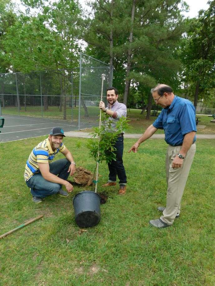 Conroe Noon Lions Club members Zack Stephens, left, and Russell Maddox, center, plant trees under the watchful eye of Club President Karl Johnson during the new member service project workday at Lions Park earlier this month.