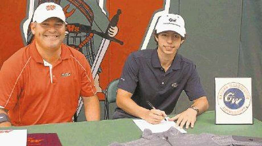 The Woodlands senior golfer Adrian Castagnola, right, signed to play at George Washington University last week. He is pictured here with TWHS golf coach Eric Noski.