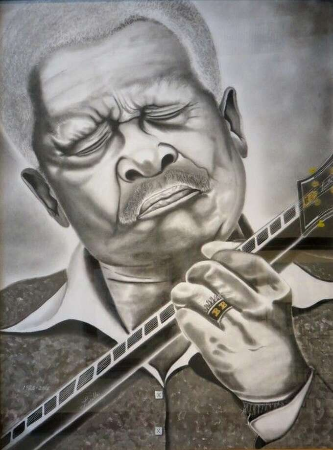 "A charcoal painting titled ""B.B. King-The Legend,"" by Bryan Calhoun. It is currently on display in the June-July exhibit at the Gallery at the Madeley Building in downtown Conroe."