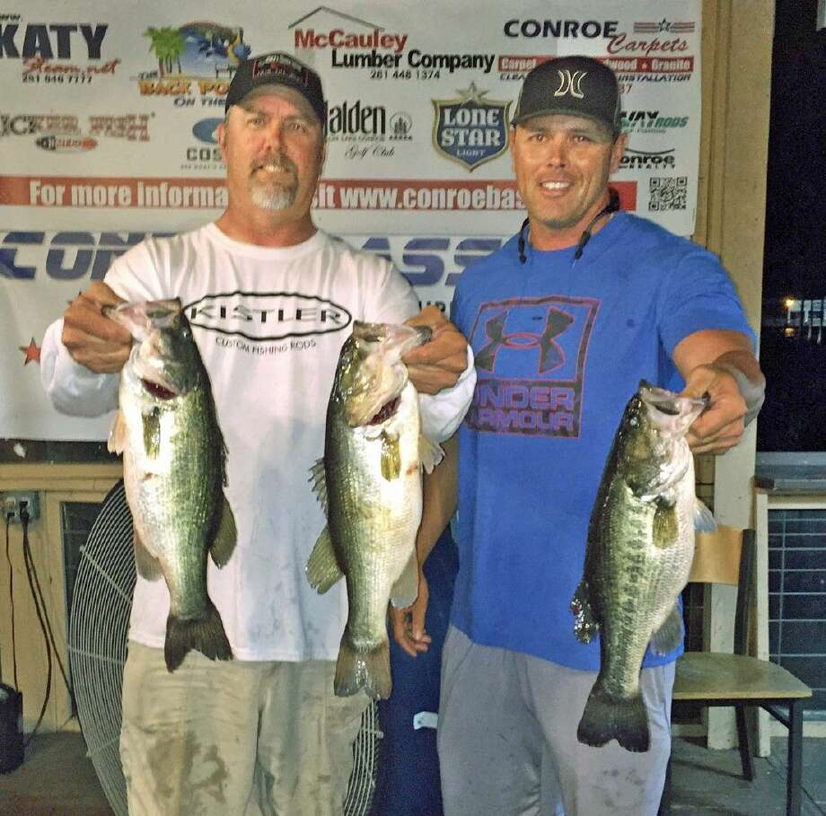 Trea Luedke and Ronnie Wagner came in third place in the CONROEBASS Tuesday tournament with a total stringer weight of 10.99 pounds.