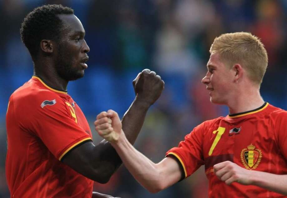 Striker Romelu Lukaku, left, and winger Kevin De Bruyne hope to lift Belgium to the knockout stages in its first World Cup appearance since 2002. Photo: Yves Logghe
