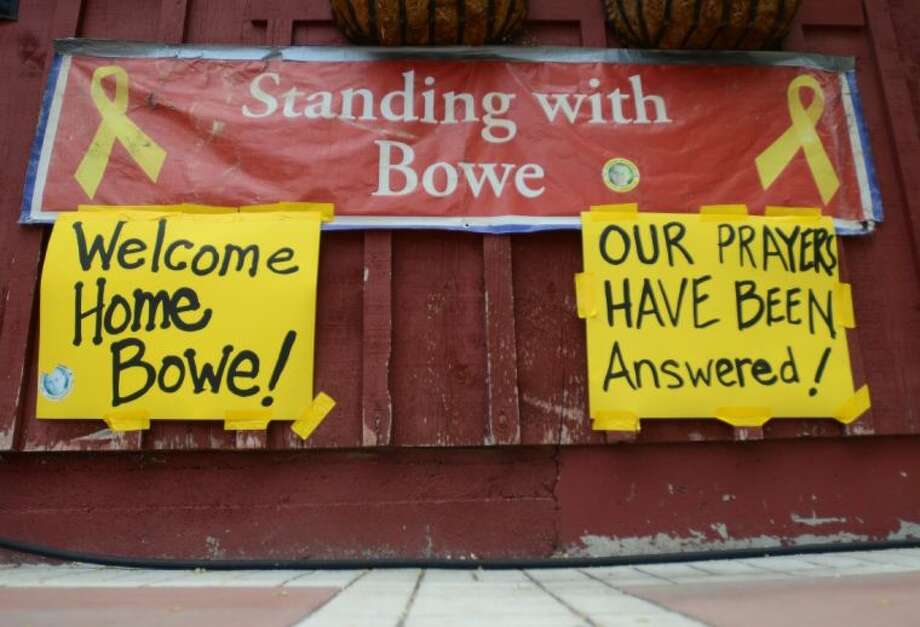 Signs hang at Zaney's coffee house in Hailey, Idaho on Saturday after the announcement that U.S. Army Sgt. Bowe Bergdahl has been released from captivity.