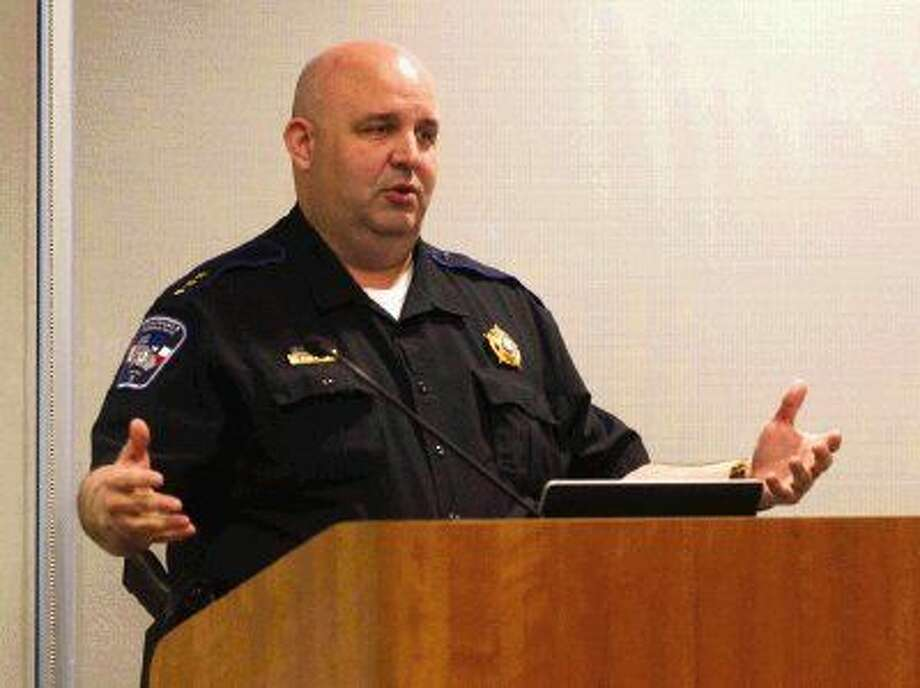 Precinct 3 Constable's Office Chief Matt Rodrigue presented information to The Woodlands Township Board Wednesday regarding funding for an investigator to help with crimes against children. The board unanimously agreed to fund the position.