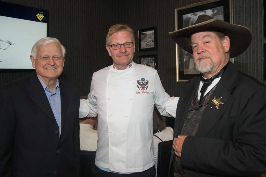 "The Count of Buena Vista (right) representing Law from his San Diego days as sheriff, White House Chef John Moeller, center, providing a means for order from the White House presidents, and George Taber, left, representing Time Magazine in the ""Judgment of Paris"" kicked off a week of wine events in The Woodlands on Monday evening at Morton's Grille for this 10th annual wine and foodie event in The Woodlands. Enjoy the magic and passion this week benefitting John Cooper School and New Danville. Photo: Steven David"