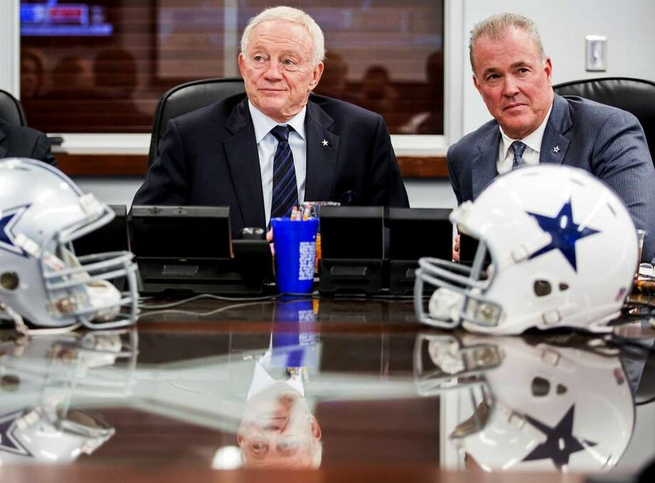 "Stephen Jones chuckles at the memory of being mediator between his dad _yeah, Cowboys owner Jerry Jones, and headstrong former coach Bill Parcells. ""It was tough, tough, tough,"" the No. 2 man in Dallas' front office said. ""But it was worth it."" Photo: Smiley N. Pool"