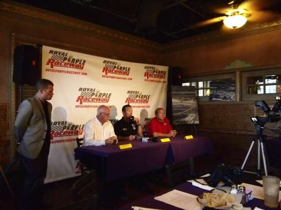 Before the TCEQ public hearing, Royal Purple Raceway held a brief press conference. Pictured left to right are Seth Angel, owner, Graham Light of NHRA, Jack Beckman, driver, and Don Schumacher, who was introduced as the owner of the largest racing operation in the U.S. Photo: CASEY STINNETT