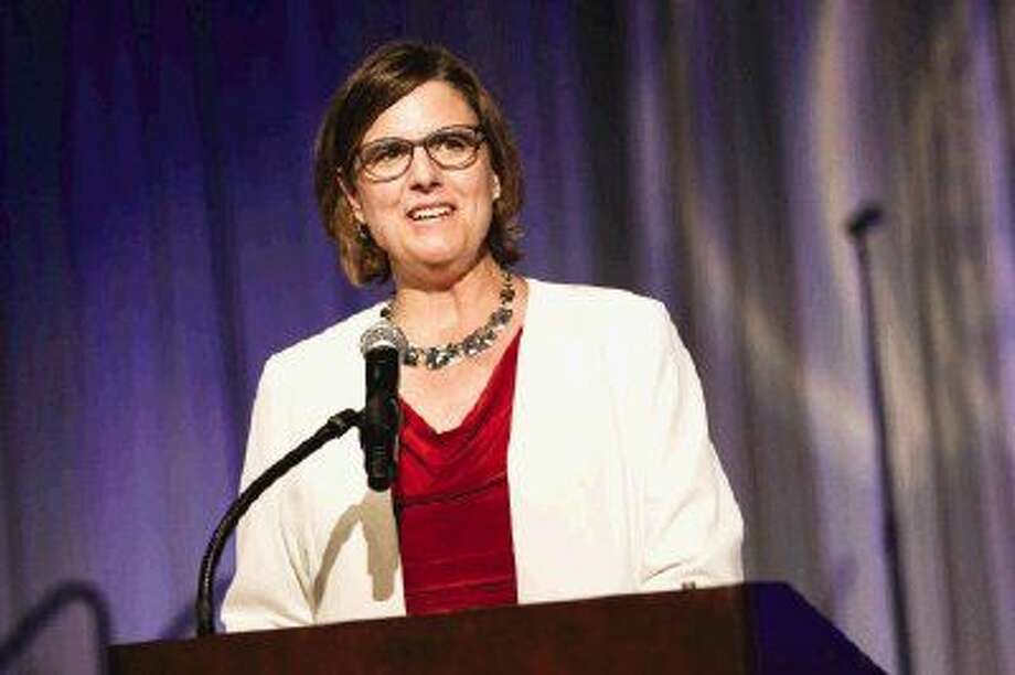 Keynote speaker Dr. Julie Vogel, Superintendent of Catholic Schools Archdiocese of Galveston-Houston, speaks during the 15th Anniversary Crystal Gala on Saturday at The Woodlands Waterway Marriott Hotel & Convention Center. Photo: Michael Minasi