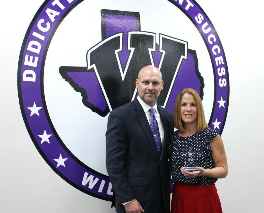 Willis ISD named librarian Shawn Lane, right, April's district MVP, pictured here with WISD Superintendent Tim Harkrider