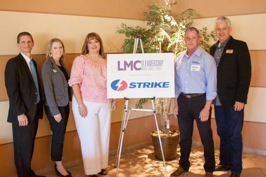 Leadership Montgomery County recently hosted its Serving Our Community Session for the LMC Class of 2016, sponsored by Strike, LLC. Pictured (left to right): LMC Chairman of the Board Rob Koester, of Consolidated Communications, LMC Executive Director Sarah Rhea, LMC class member Michele Kooken, of Strike LLC, Ky Bishop, of Strike LLC, and the Serving Our Community session director and LMC board member Phillip Moore of The Ark Church.