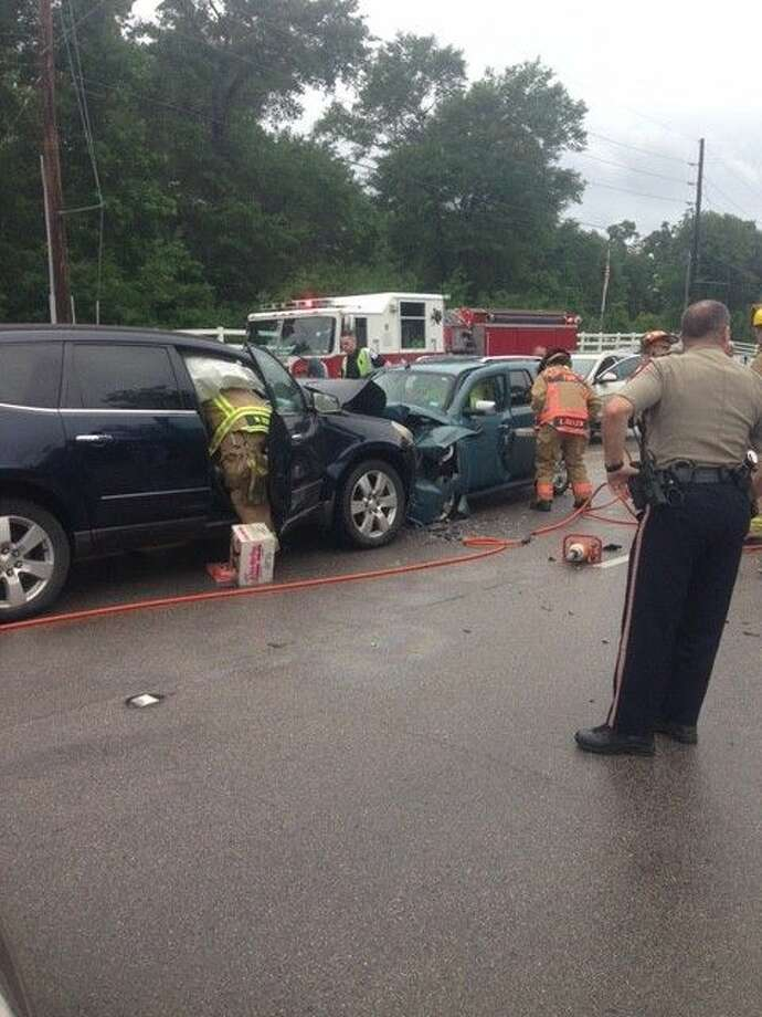 Two people were hospitalized after a head-on crash on Walden Road near Bois d'Arc Bend Road on Monday around 10 a.m.