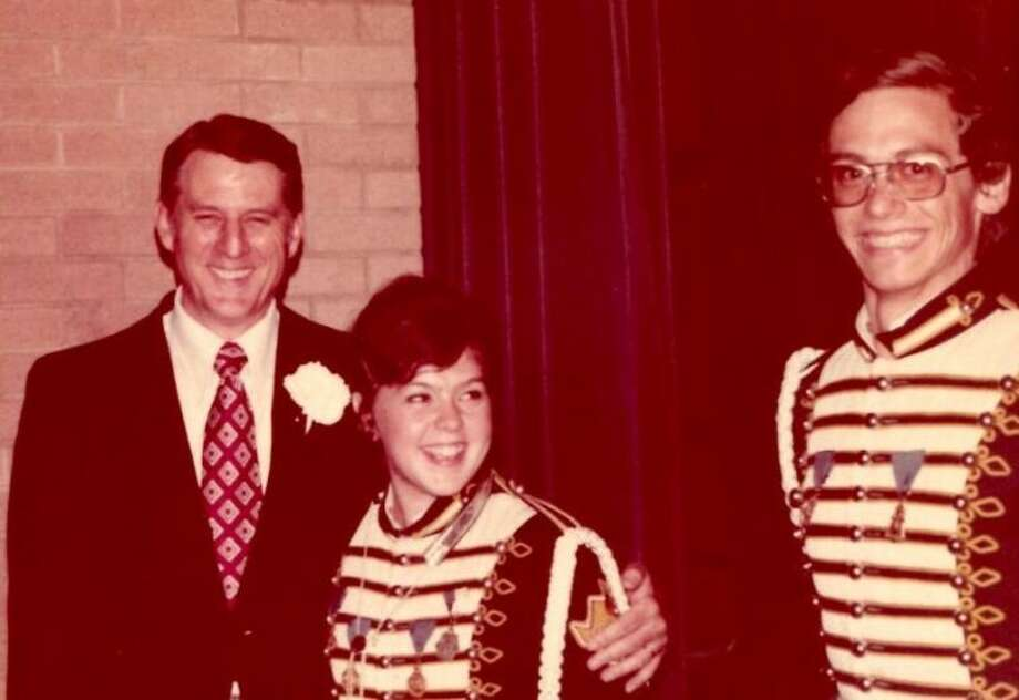 Pictured are the late Ralph Rowe, Conroe High Band Director, and students Roxanne Smith Davis and Scott Davis in May of 1973.