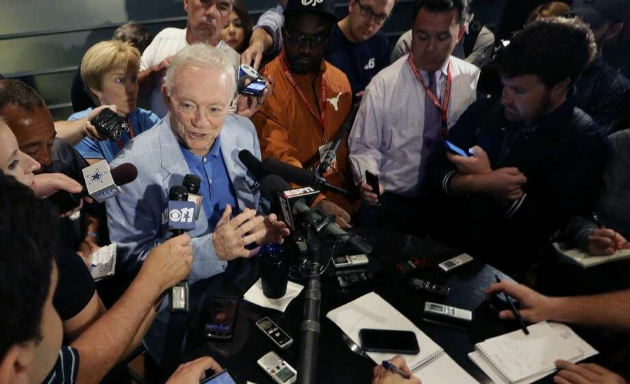 Dallas Cowboys owner Jerry Jones speaks to reporters during an NFL football minicamp at the team's stadium in Arlington Wednesday. Photo: LM Otero