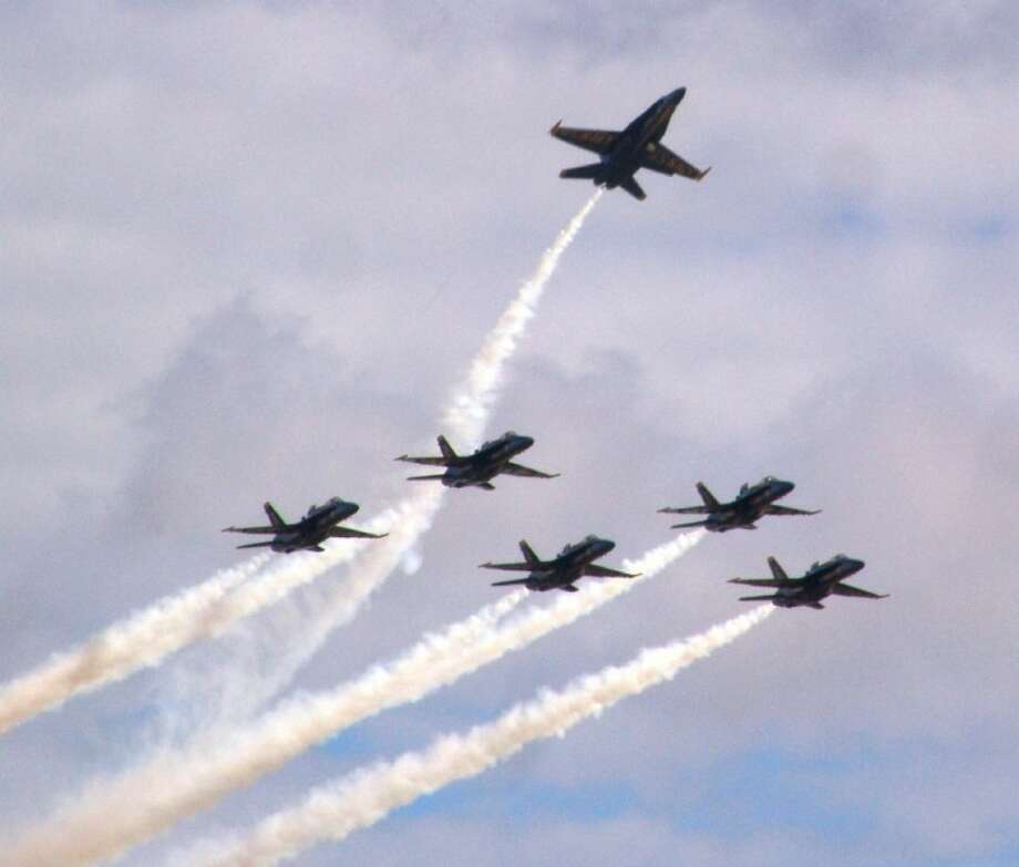 The Blue Angels always have a dramatic arrival, followed by a 40-minute show that pushes their planes to the limits. Photo: JEFF NEWPHER
