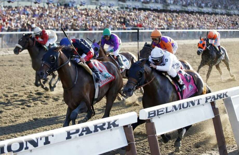 Tonalist (11), ridden by jockey Joel Rosario, edges Commissioner (8), with Javier Castellano up, to win the 146th running of the Belmont Stakes on Saturday in Elmont, N.Y. California Chrome (2), the Kentucky Derby and Preakness Stakes winner ridden by Victor Espinoza, finished fourth. Photo: Matt Slocum