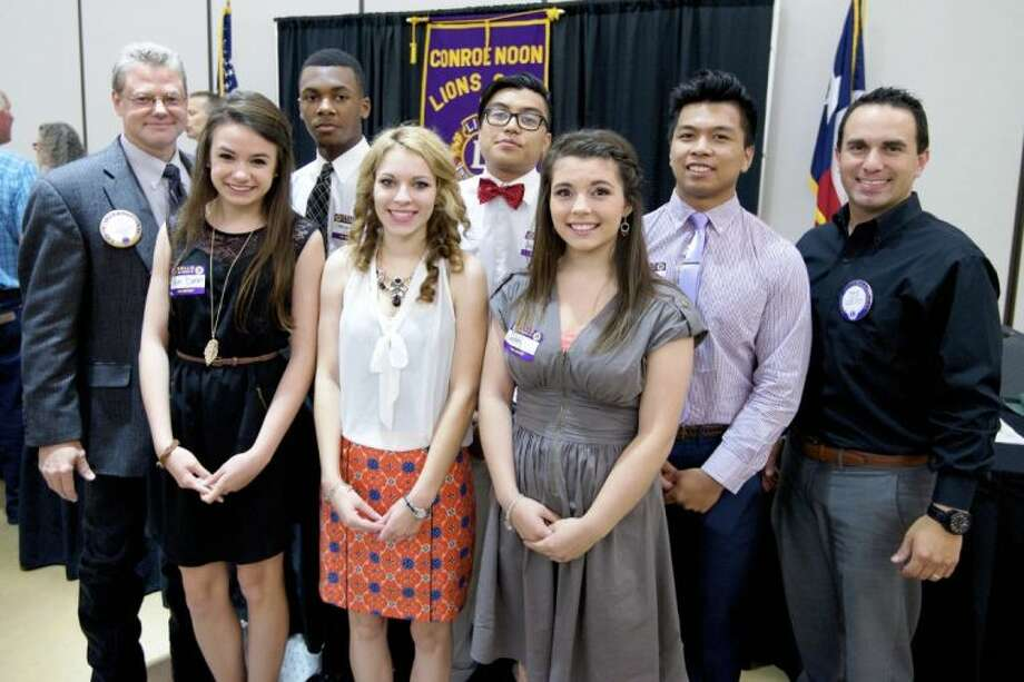 This year the Conroe Noon Lions Club awarded $22,000 in general scholarship funds to Conroe area high school students. Some of those recipients attended the club meeting last week: Pictured, left to right, back, President Wes Carr; Carlton Gaddis, Jr.; Chris Quincena, Jeremiah Velasco; Scholarship Chair Kala Eulitt; front, River Dixon; Lexi Youst; Serenity Armstrong.