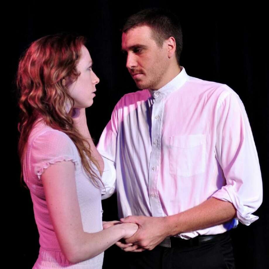 "The Houston Family Arts Center production of ""The Crucible"" features Katrina Ellsworth as Elizabeth Proctor and Bryan Reilly as John Proctor."