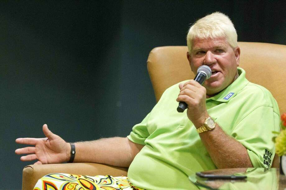 John Daly takes questions from the media during a press conference at The Woodlands Country Club Tournament Course Wednesday. Daly will make his PGA Champions Tour debut at this week's Insperity Invitational. Photo: Jason Fochtman