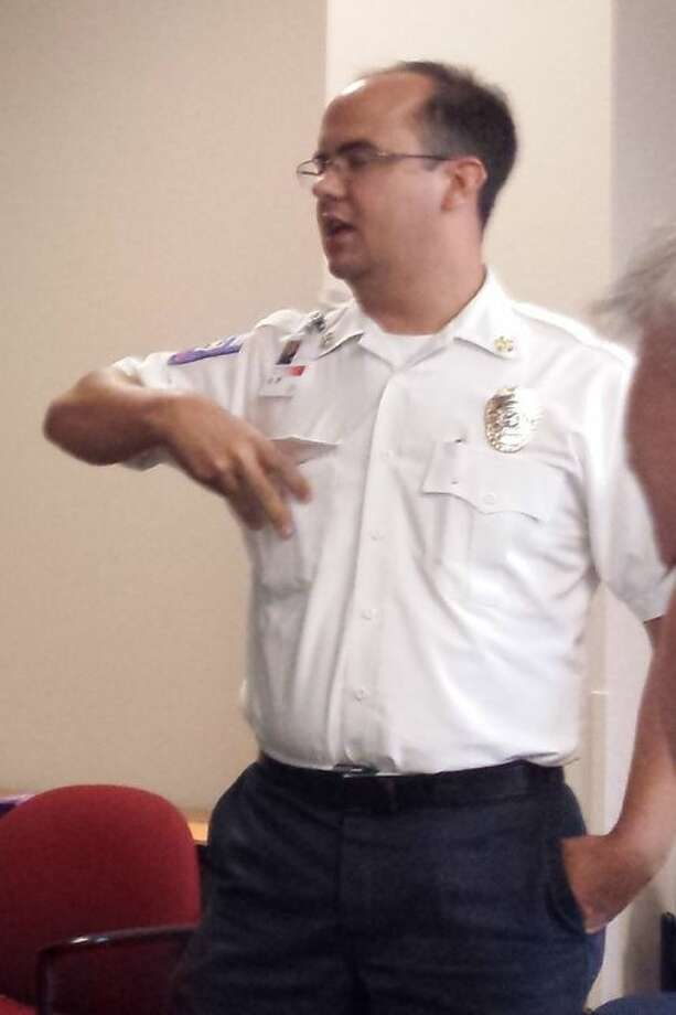 Porter Fire Chief Carter Johnson spoke at the June 2 meeting of the Concerned Citizens of East Montgomery County, held at the R.B. Tullis Branch Library in New Caney. Photo: STEPHANIE BUCKNER