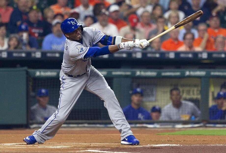 Alcides Escobar, of the Kansas City Royals, strikes out during an at bat in the first inning of an MLB baseball game Monday, April 11, 2016. Photo: Jason Fochtman