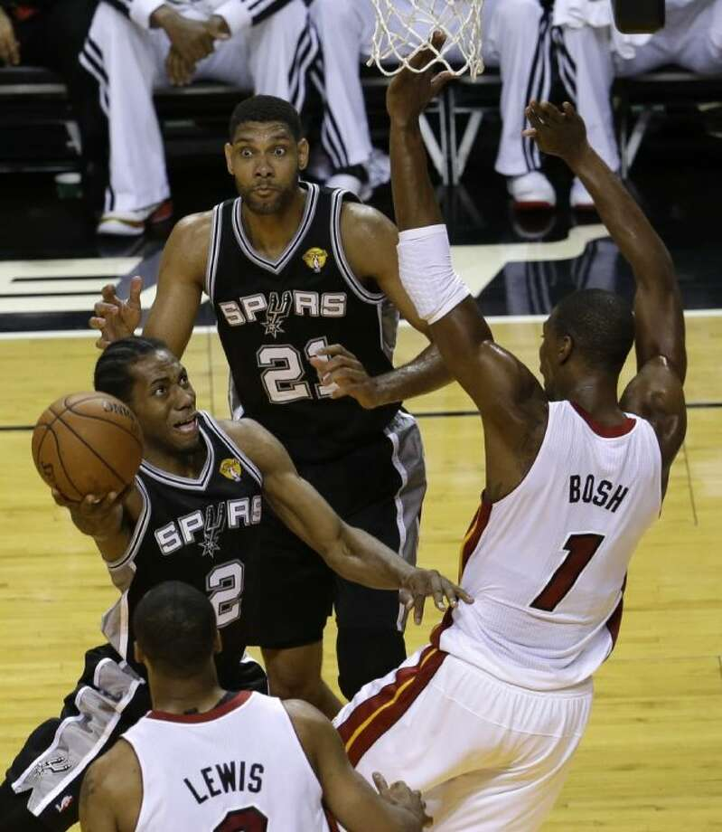 San Antonio Spurs forward Kawhi Leonard torched Chris Bosh and the Miami Heat for 29 points in Game 3 of the NBA finals on Tuesday in Miami. Photo: Lynne Sladky
