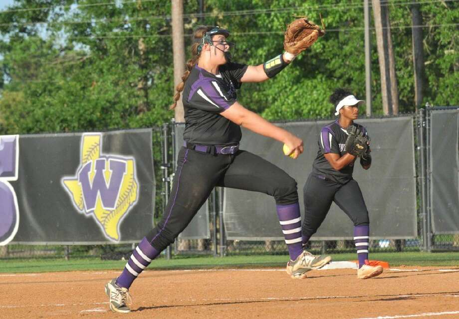 Willis' Casey Dixon pitches against Brenham during a Class 5A area playoff softball game at Willis High School on Friday. Photo: Keith MacPherson